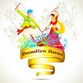 image of navratri  - illustration of couple playing dandiya on Navratri - JPG
