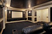 picture of home theater  - Theather room in luxury home with leather chairs - JPG