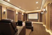 picture of home theater  - Home theater in luxury house with large TV screen - JPG