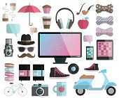 Hipster design elements set - computer display headphones bow apple scooter sneakers tea coffee cup