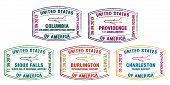 foto of burlington  - Stylised passport stamps of major US airports in vector format - JPG