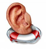 stock photo of eardrum  - Saving your hearing health care concept with a human ear in a lifesaver or life belt as a lifeline icon to protect the function of to hear sounds and noise as a medical symbol and a social icon to communicate listen and pay attention - JPG