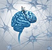 picture of neuron  - Brain medical research concept with a science doctor on a brain steering with a harness the direction through a maze of three dimensional neurons as an icon of finding a cure with a proper diagnosis for autism and alzeimers disease - JPG