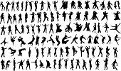 stock photo of exaltation  - Lots of silhouettes of dancing people - JPG