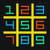 8-bit Pixel Art Numbers 1-9 In A Sudoku Grid
