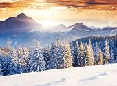 picture of snow clouds  - Fantastic evening winter landscape - JPG