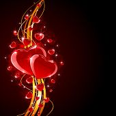 picture of glass heart  - Valentines background with shiny hearts and golden lines - JPG