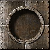 stock photo of battleship  - armored metal porthole background - JPG