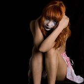 stock photo of clown rose  - lady in crying clown makeup  - JPG