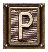 Metal button alphabet letter P
