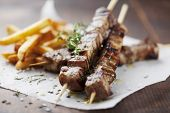 picture of souvlaki  - meat skewer with herbs - JPG