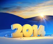 stock photo of snowy hill  - new year 2014 - JPG