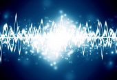 stock photo of waveform  - bright sound wave on a dark blue background - JPG