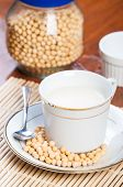 stock photo of soybean milk  - freshly brewed soybean milk made from fresh soybeans - JPG