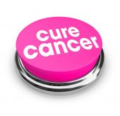 stock photo of rectal  - A pink button with the words Cure Cancer on it - JPG