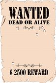 foto of buckaroo  - The poster about search of the criminal in style of the wild West - JPG