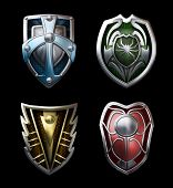 stock photo of paladin  - Illustration of four steel shields for the brave knights - JPG