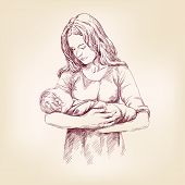 picture of mater  - Madonna Mary holding Baby Jesus  hand drawn vector llustration - JPG