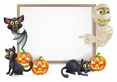 stock photo of mummy  - Halloween sign or banner with orange Halloween pumpkins and black witch - JPG