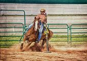 stock photo of barrel racer  - Western horse and rider competing in pole bending and barrel racing competition with texture - JPG