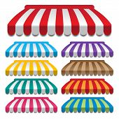 stock photo of awning  - set of colorful awnings - JPG