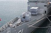 foto of battleship  - Battleship docked at the harbor - JPG