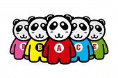 image of pandas  - Five cartoon panda in a row - JPG