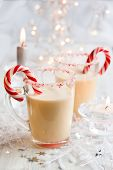 stock photo of peppermint  - Creamy Peppermint Punch with candy cane - JPG