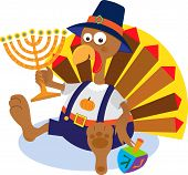 stock photo of menorah  - Cute cartoon turkey holding a menorah - JPG