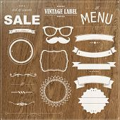 stock photo of cafe  - Set Of Vintage Badges With Wood Background - JPG