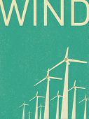 foto of turbines  - vector retro wind turbines illustration - JPG