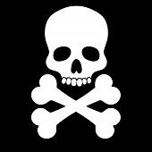image of skull bones  - White skull with two bones on black background - JPG