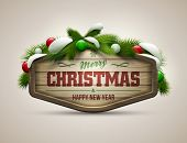 stock photo of merry  - Vector realistic illustration of wooden christmas message board - JPG