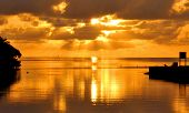 foto of florida-orange  - Sunrise over Cutler Bay near Miami - JPG
