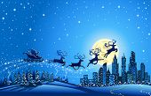 stock photo of moonlight  - Santa Sleigh Closer to the Big City  Christmas winter Landscape with Santa Into the Sky Closer to the Big City - JPG