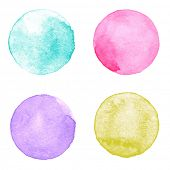 stock photo of aquamarine  - Watercolor circles collection - JPG