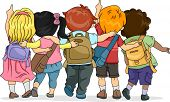stock photo of sling bag  - Back View Illustration of a Group of Kids Looking Upwards - JPG