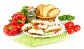 image of hardtack  - Sandwiches with cottage cheese and greens on plate isolated on white - JPG