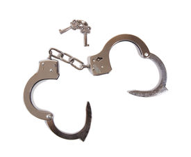 pic of sado-masochism  - Close up of a pair of opened handcuffs with keys on white background - JPG