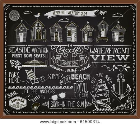 Chalkboard Poster for Beach Huts - Blackboard advertisement for summer vacation and beach huts, with banners, labels, swirls and decorative chalk typography