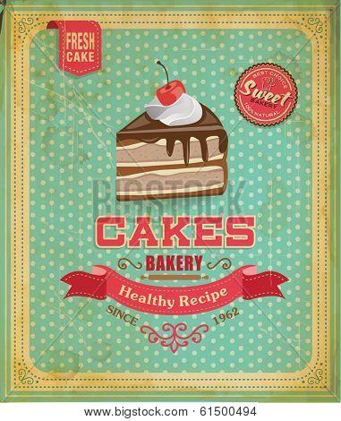 Cake poster design in retro style