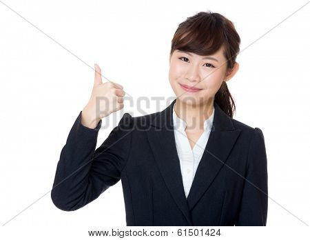 Asia businesswoman thumb up