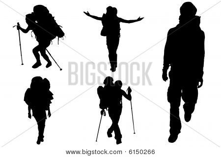 Hiking man and woman in black