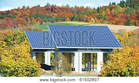Solar panels buildings for sun energy accumulation in the field