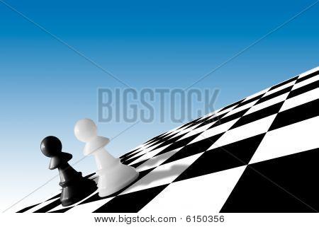 Black & White Pawns On Checkboard