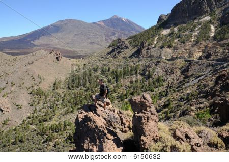 Hiker In Teide National Park, Tenerife Spain