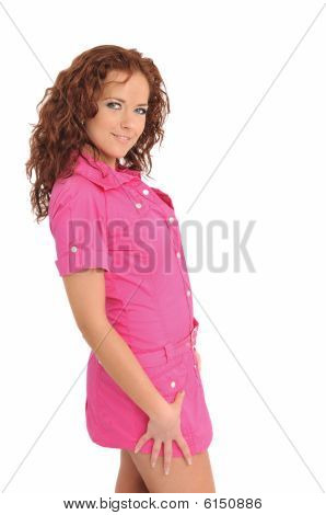 Young Beautiful Woman Posing In Pink - Portrait