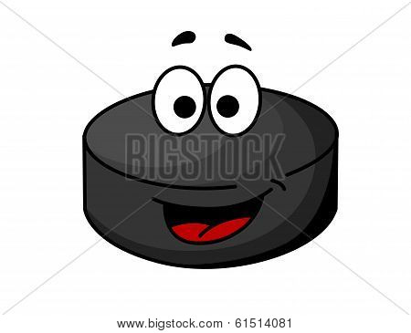 Black cartoon ice hockey puck