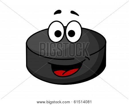 Black cartoon ice hockey puck