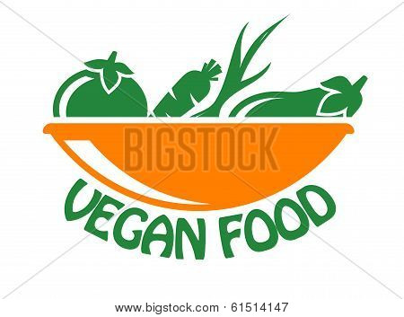 Vegan food icon with vegetables